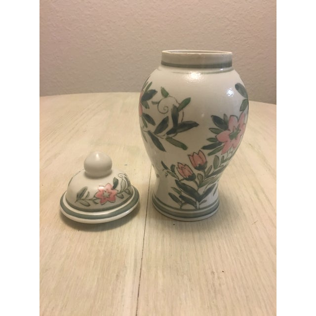 Chinese Green and Pink Floral Ginger Jar - Image 5 of 7