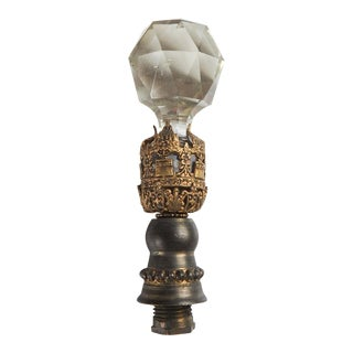 1930s Crystal & Brass Lamp Finial For Sale