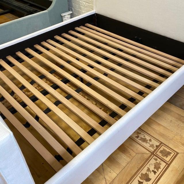 New Queen Size Custom Design Upholstered Linen Bed Frame For Sale - Image 11 of 13