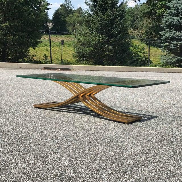 Vintage Hollywood Regency Gilt Slatted Steel Sculptural X Base Glass Top Coffee Table For Sale - Image 13 of 13