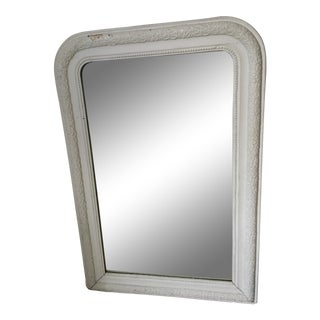 19th C French Louis Philippe Painted White Mirror For Sale