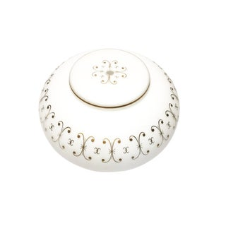 Vintage Mid-Century Frosted White Glass With Accenting Gold Motifs Ceiling Light Cover / Fixture For Sale