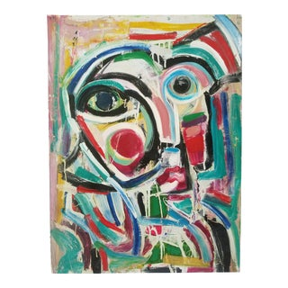 Abstract Face Acylic Painting by Frid For Sale