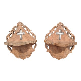 A Pair- Vintage Handcarved Indian Wooden Wall Brackets For Sale