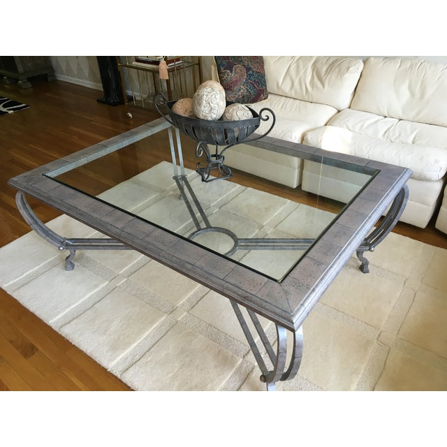 Metal Finish Glass Cocktail Table - Image 5 of 8