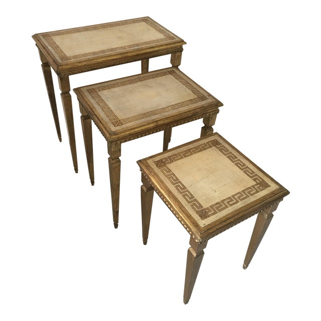 Hollywood Regency Gold Gilt Florentine Tables - Set of 3 For Sale
