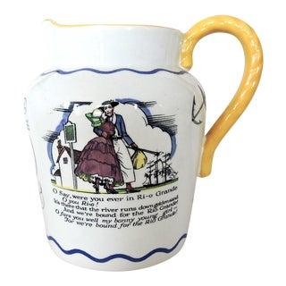 Antique 1920's English Royal Dolton Porcelain Sea Shanty Jug or Pitcher For Sale