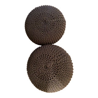 Cb2 Charcoal Chunky Knitted Poufs - Set of 2