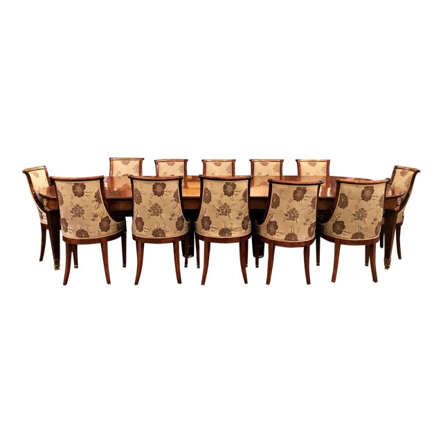 Antique French Empire Style Circassian Walnut Dining Suite: Table, Sideboard and 12 Chairs. For Sale
