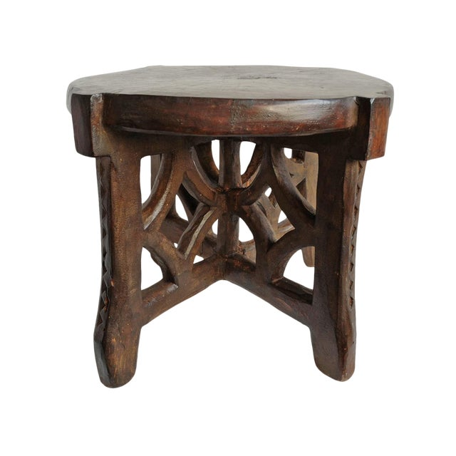 Consigned Tanzania Wood Stool For Sale