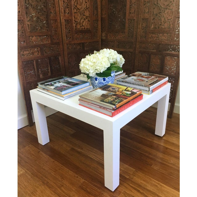 Boho Chic Woven Grasscloth Parsons Coffee Table For Sale - Image 3 of 6