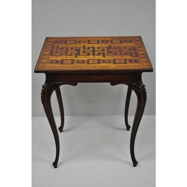Antique Dutch Marquetry Inlaid French Louis XV Style Carved Walnut Side Table For Sale - Image 10 of 13