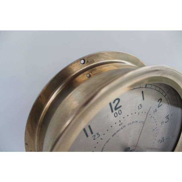 1940´s Nautical Round Solid Brass Wall Clock For Sale - Image 5 of 10