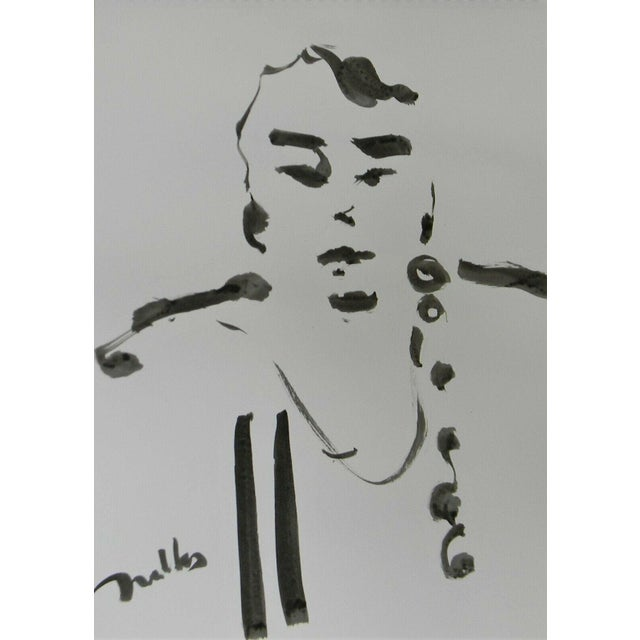 Jose Trujillo Abstract Expressionism Ink Wash Modern Contemporary Portrait Painting For Sale