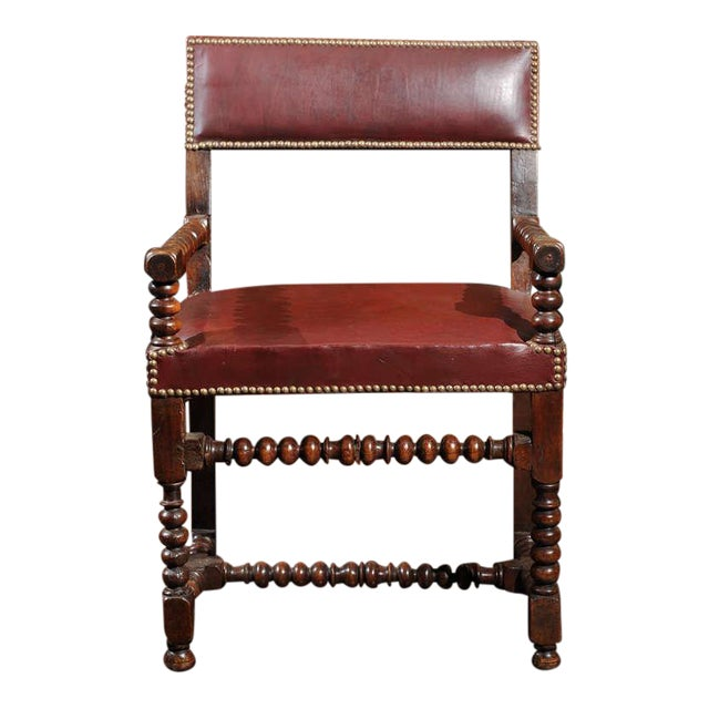 Bobbin Turned Walnut Armchair with Red Leather Upholstery For Sale
