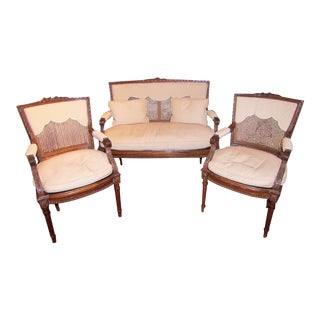 1940s Antique Neoclassic Fauteuil Seating Set- 3 Pieces For Sale