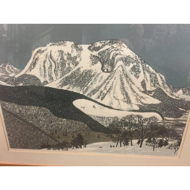 """Serene Fumio Kitaoka Woodblock print. """"Snowy Mountain). 1975 number 79 of 100. Signed by artist. In excellent condition...."""