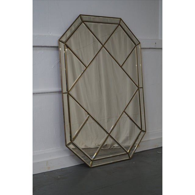 Brass Frame Harlequin Pattern Beveled Glass Mirror - Image 2 of 10
