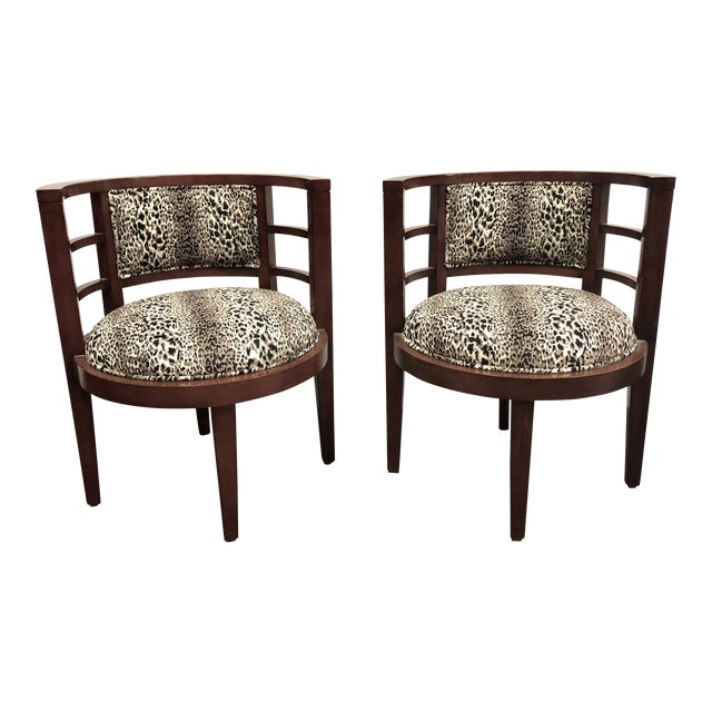 Hollywood Glam Leopard Print Barrel Back Chairs - a Pair For Sale