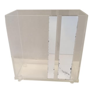 Lucite & Faux Mirror Paper Basket For Sale
