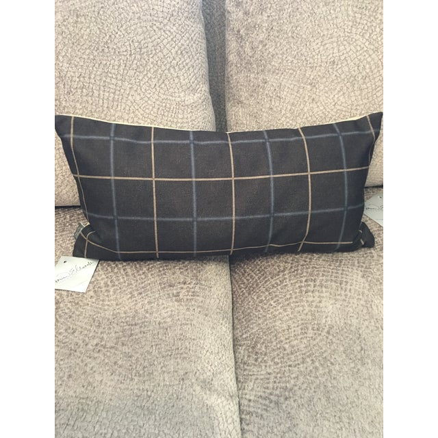 Our Oxford Slate Pillow takes on a men's suiting look. A thin windowpane plaid of sand & blue are printed on a slate gray...