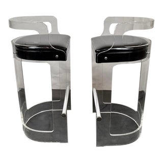 Pair of Lucite & Chrome Barstools Designed by Charles Hollis Jones for Hill Mfg. For Sale