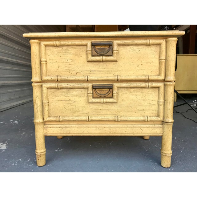 Yellow Stanley Furniture Faux Bamboo End Table Hollywood Regency For Sale - Image 8 of 8