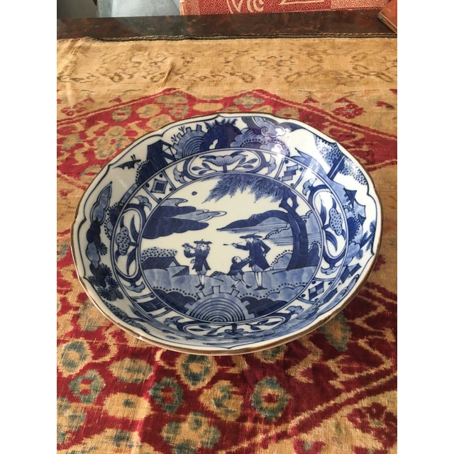 Blue & White Japanese Scene Bowl For Sale In Washington DC - Image 6 of 6
