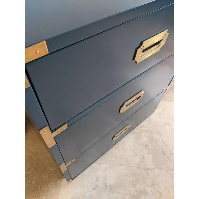 1970s Campaign Dixie Blue Gloss Desk For Sale In Phoenix - Image 6 of 10