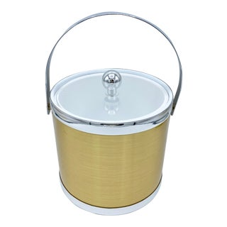 Vintage Gold Ice Bucket With Silver Trim and Lucite Lid For Sale