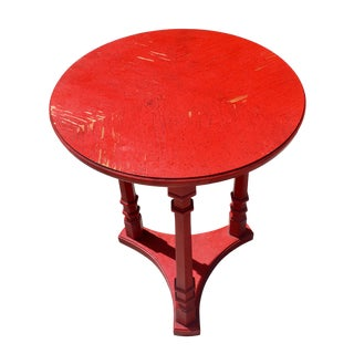 Antique Chinese Red Lacquer Accent Table For Sale