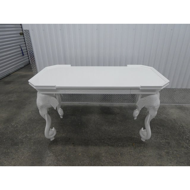 1970s Hollywood Regency Gampel Stoll white lacquer elephant writing desk sold as found without damage.