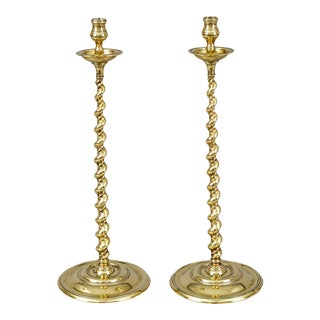 Antique Tall Brass Spiral Twist Candlesticks - a Pair For Sale