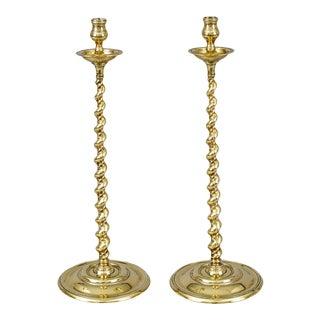 Antique Tall Brass Spiral Twist Candlesticks - a Pair For Sale