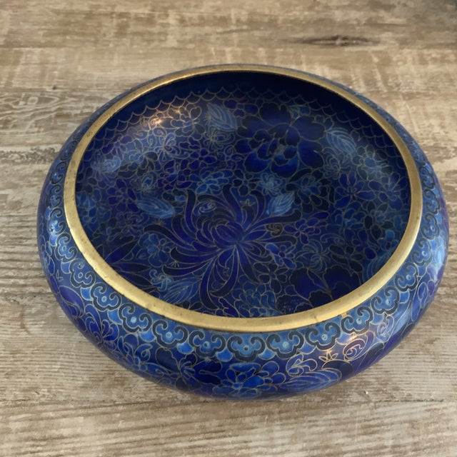 Asian Cobalt Blue Chinese Cloisonné Bowl For Sale - Image 3 of 7