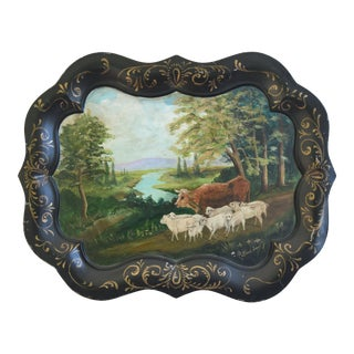 1930s Hand-Painted Pastoral Farmhouse Tole Tray