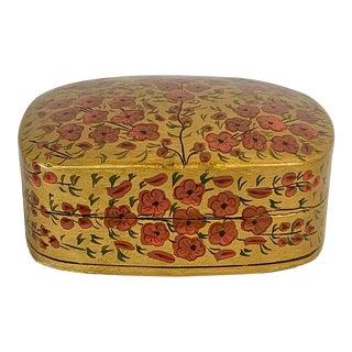 Vintage Kashmiri Floral Papier-Mâché Box For Sale