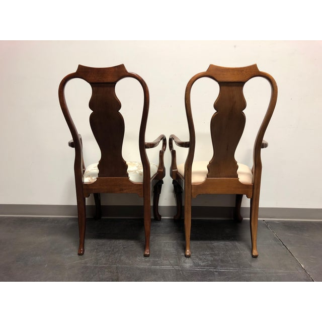 1970s Solid Mahogany Queen Anne Dining Captain's Arm Chairs - Pair For Sale - Image 5 of 11