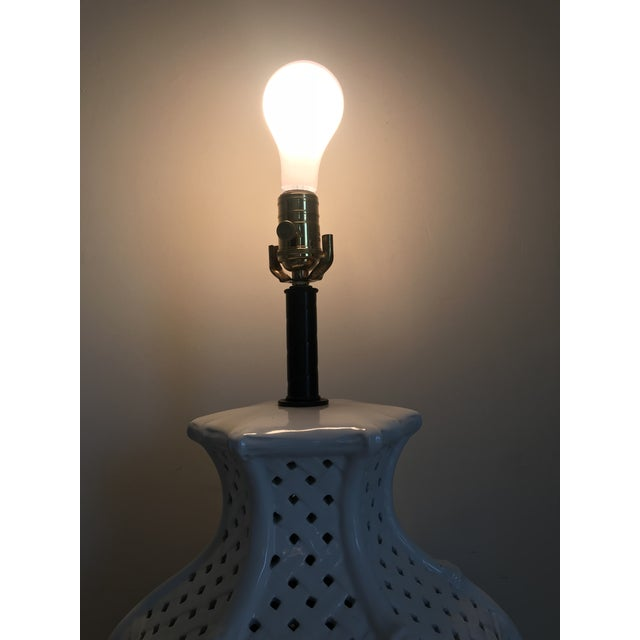 White Faux Bamboo Table Lamp For Sale - Image 10 of 11
