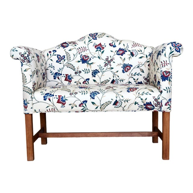 Vintage Camelback Chippendale Mahogany Floral Sofa For Sale