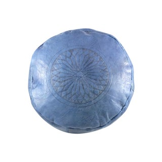 Blue Leather Moroccan Pouf For Sale