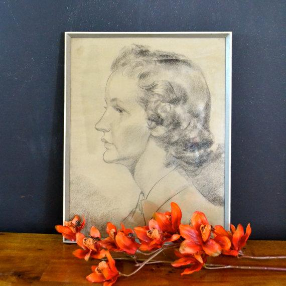 1956 Vintage English Hand Sketch of a Woman - Image 6 of 6