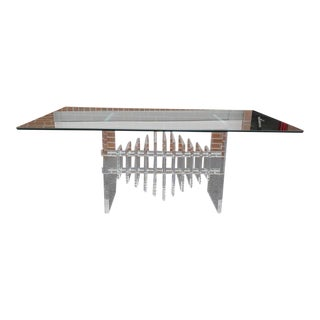 1970s Lucite Dining Table With Glass Top and Geometric Base For Sale