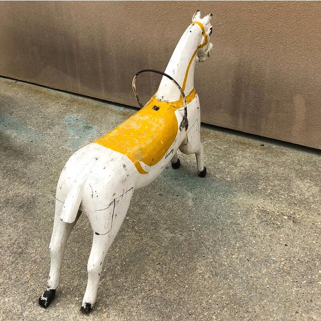 Hand-Painted Carved Wood Carousel Horse For Sale - Image 10 of 11