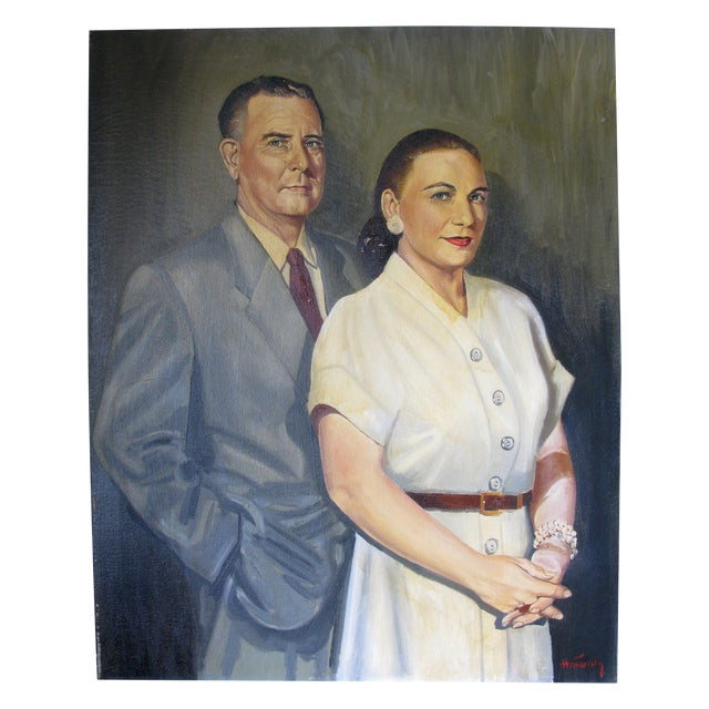Quirky Oil Painting of Couple on Canvas - Image 1 of 5