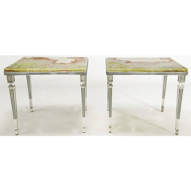 Pair of 1940s Silver Plated Bronze and Onyx End Tables - Image 5 of 7