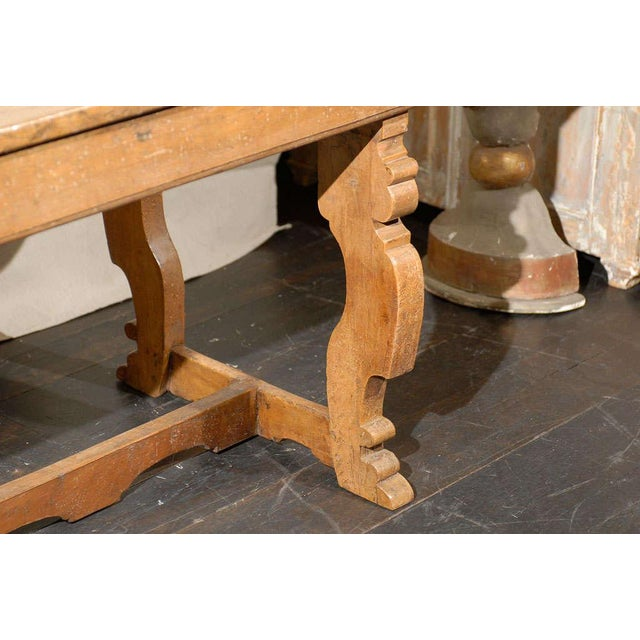 18th Century Italian 18th Century Trestle Farm Table With Lyre Shaped Legs For Sale - Image 5 of 10