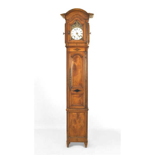 Louis XVI Mid-18th Century French Provincial Walnut and Fruitwood Grandfather Clock For Sale - Image 3 of 3