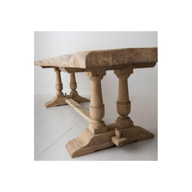 19th Century French Large Bleached Oak Provençal Style Trestle Table For Sale - Image 4 of 13