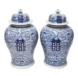 Pair of Blue & White Happiness Jars For Sale